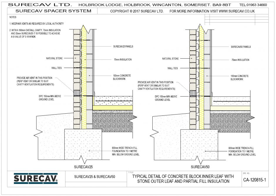 SureCav Typical Details (Stone outer leaf/block inner)