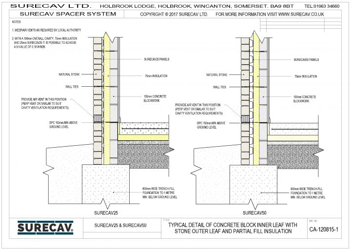 SureCav Typical Details (Stone outer leaf-block inner)