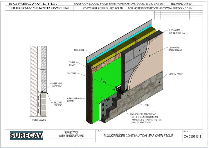 Block & Render Continuation Over Stone (Timber-Frame)