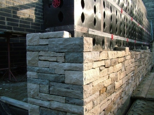 Semi-dry stone wall corner feature at Matrod Frampton