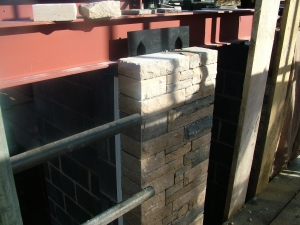 Narrow section of stonework on SureCav50 panel