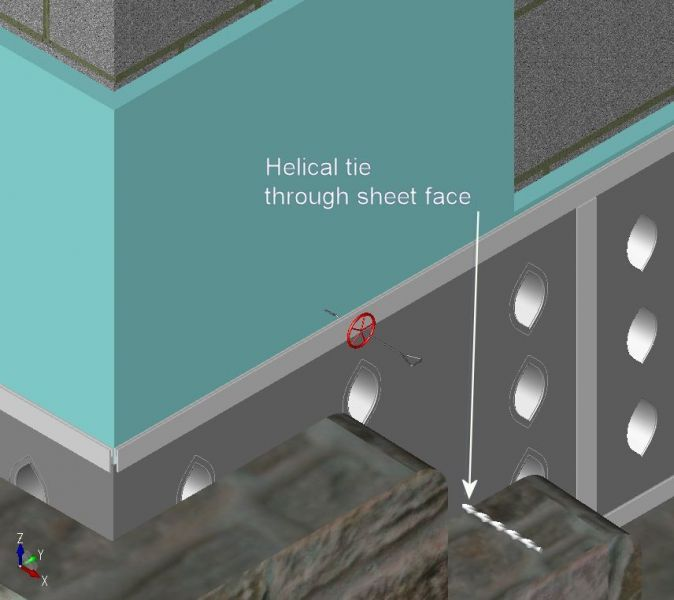 Insulation held firmly in place by the SureCav panel. Helical ties can be used for random stonework, as shown in the illustration.